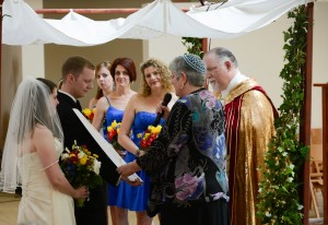 Reading the Ketubah @ co-officiated ceremony